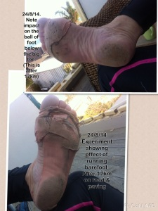 A good example of the different impact of each foot during my run.  Note I have referred a number of times to nursing an injured left leg, and see the resulting pad connection of my left foot to the road.