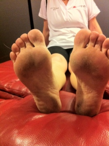 My broad based feet.. at the time of this photo in October 2013, I had run just over 400km completely and really barefoot.