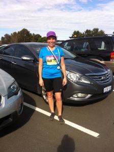 Perth Half Marathon July 2014. Here I ran with my new Balance Vibrams as the course was not barefoot friendly.