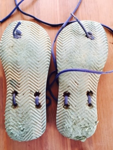 $3 beach slops certainly have done well for the 200km of beating they have been given on the trails!  The wearing out of the one sole is exclusively the result of Wally Grunta  downhill rocks!